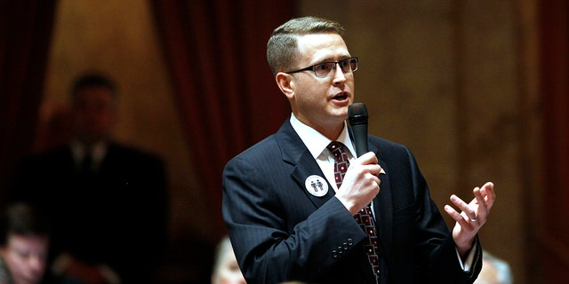 Washington state Rep. Matt Shea, R-Spokane Valley, speaks in Olympia, Wash., Feb. 8, 2012. (Associated Press)