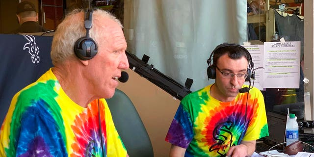 Bill Walton does commentary on NBC Sports Chicago for the Chicago White Sox's baseball game against the Los Angeles Angels on Friday, Aug. 16, 2019, in Anaheim, Calif.