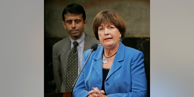 Former Louisiana Gov. Kathleen Blanco addressing a news conference as Gov. Bobby Jindal looked on, in June 2009. (AP Photo/Bill Haber, File)