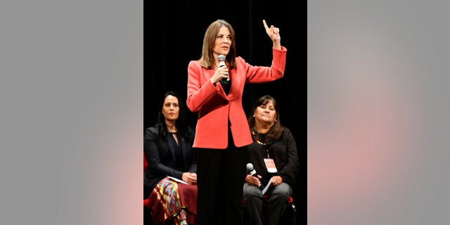 "Marianne Williamson, seen here speaking Monday in Iowa, announced details in her plane to crate a ""Department of Peace."" (Tim Hynds/Sioux City Journal via AP)"