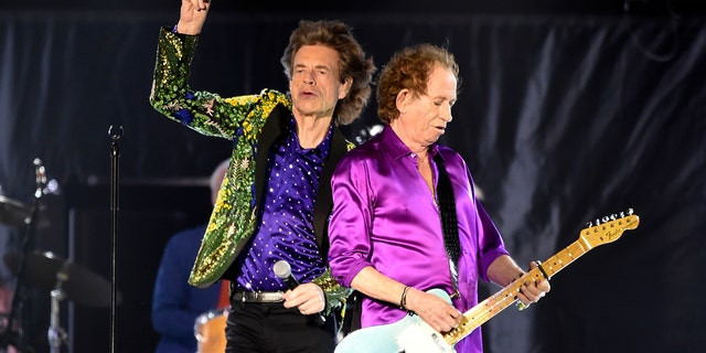 Mick Jagger, left, and Keith Richards of the Rolling Stones performing during their concert at the Rose Bowl, Thursday, Aug. 22, 2019, in Pasadena, Calif.