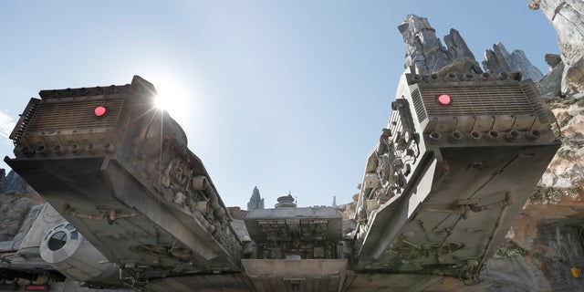 A view near the entrance to the Millennium Falcon Smugglers Run ride is seen during a preview of the Star Wars themed land, Galaxy's Edge in Hollywood Studios at Disney World, Tuesday, Aug. 27, 2019, in Lake Buena Vista, Fla. The attraction will open Thursday to park guests. (AP Photo/John Raoux)