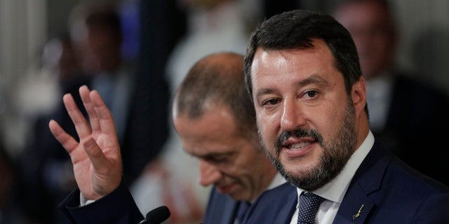 Liga Party leader Matteo Salvini speaks to reporters after meeting with Italian President Sergio Matarella at the Presidential Palace in Rome in Quirinella, Wednesday, August 28, 2019