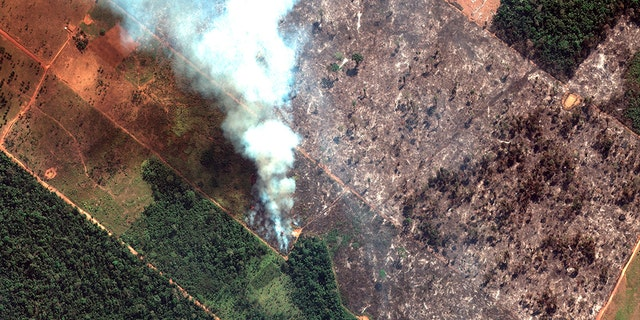 Fires burning in the State of Rondonia, Brazil, in the upper Amazon River basin. Brazil's National Institute for Space Research, a federal agency monitoring deforestation and wildfires, said the country has seen a record number of wildfires this year, an 84 percent increase compared to the same period last year.聽