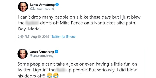 Lance Armstrong tweeted he passed Vice President Mike Pence on a bike path in Nantucket, Mass., on Saturday.