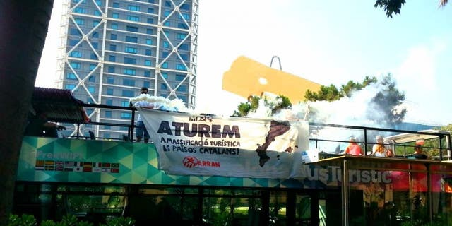 Last summer,Arran protested mass tourism and overcrowding by unfurling signs and setting off flares on sightseeing buses in Barcelona, Valencia and Palma.