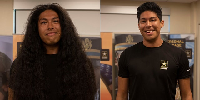 Reynaldo Arroyo, 23, recently got a haircut for the first time in 15 when he recently enlisted with the U.S. Army.