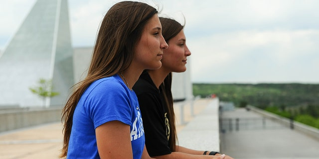 Aubrie and EmmaKuhrt, twin sisters from Texas, split to attend separate U.S. military academies. (U.S. Air Force Academy Public Affairs)