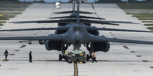 Four B-1B Lancers assigned to the 9th Expeditionary Bomb Squadron arrive at Andersen AFB, Guam. (U.S. Air Force photo/Tech. Sgt. Richard P. Ebensberger)