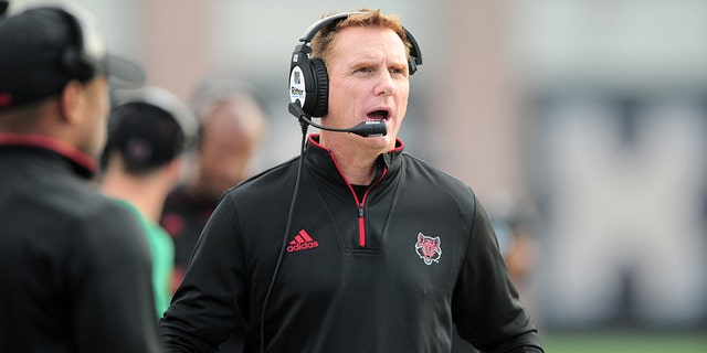Arkansas State Red Wolves head coach Blake Anderson watches action during Sun Belt Conference game against the Texas State Bobcats on November 24, 2018 at Bobcat Stadium in San Marcos, TX. (Photo by John Rivera/Icon Sportswire via Getty Images)