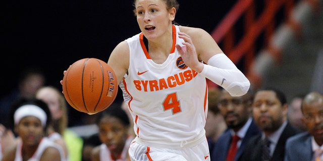 FILE - In this Jan. 23, 2019, file photo, Syracuse's Tiana Mangakahia dribbles down court in the second quarter of an NCAA basketball game against Miami in Syracuse, N.Y. (AP Photo/Nick Lisi, File)