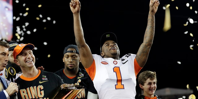 FILE - In this Jan. 7, 2019, file photo, Clemson's Trayvon Mullen celebrates after the NCAA college football playoff championship game against Alabama, in Santa Clara, Calif. For the first time, the defending national champion Tigers are No. 1 in The Associated Press preseason Top 25 presented by Regions Bank, Monday, Aug. 19, 2019. (AP Photo/David J. Phillip, File)