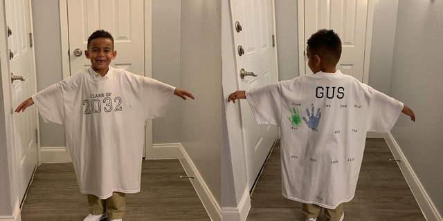"""The concept is that every year on the first day we take a picture of him in it and by his senior year he will fit in the shirt and we'll get to go through every school year photo and watch his growth,"" proud mom Carina Cansino descrbied her son Gus' special shirt."