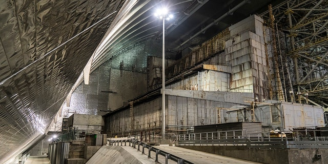A view inside the 'New Safe Confinement' of the old sarcophagus entombing the destroyed reactor number four at the Chernobyl Nuclear Power Plant on July 2, 2019 in Pripyat, Ukraine. (Photo by Brendan Hoffman/Getty Images)