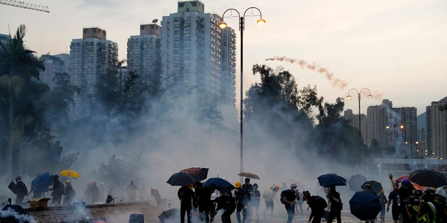 Droves of protesters filled public parks and squares in several Hong Kong districts on Monday in a general strike staged on a weekday to draw more attention to their demands that the semi-autonomous Chinese city's leader resign.