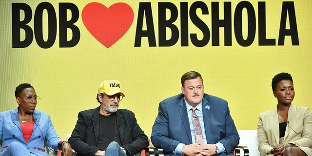 """Gina Yashere, Chuck Lorre, Billy Gardell, Folake Olowofoyeku and Al Higgins of """"Bob Hearts Abishola"""" speak during the CBS segment of the 2019 Summer TCA Press Tour at The Beverly Hilton Hotel on August 1, 2019, in Beverly Hills, California. (Photo by Amy Sussman/Getty Images)"""