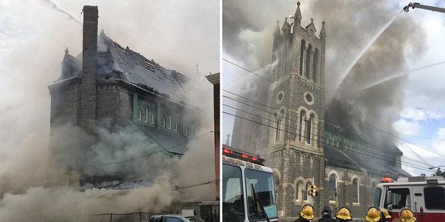 Westlake Legal Group Church-Fire-3 Three-alarm fire rips through 115-year-old Philadelphia church Vandana Rambaran fox-news/us/us-regions/northeast/pennsylvania fox-news/us/religion/christianity fox-news/us/disasters/fires fox-news/us/disasters/disaster-response fox news fnc/us fnc e22118c4-e0da-57f8-9605-aa973b3c91ef article