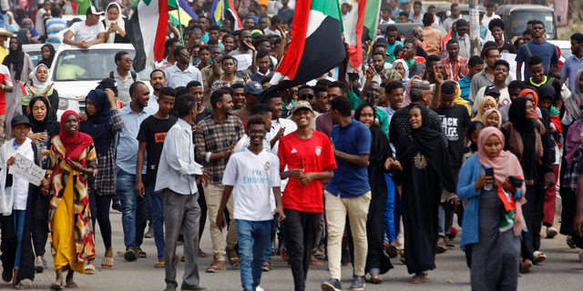 Sudanese protesters march during a demonstration in the capital Khartoum, Sudan, Thursday, Aug. 1, 2019. Sudanese pro-democracy activists have posted videos on social media showing thousands of people taking to the streets in the capital, Khartoum.