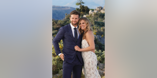 """This image released by ABC shows Jed Wyatt, left, and Hannah Brown from the season finale of """"The Bachelorette."""" On Tuesday's finale, viewers saw Brown get engaged to Jed Wyatt. Their happiness was short-lived because the day after their engagement she learned he had a girlfriend when he joined the show. Cameras rolled as she confronted him for more information."""