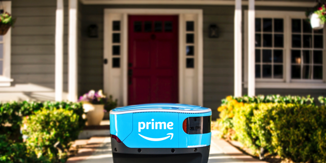 This undated photo provided by Amazon shows a self-driving delivery robot that Amazon is calling Scout. (Amazon via AP, File)