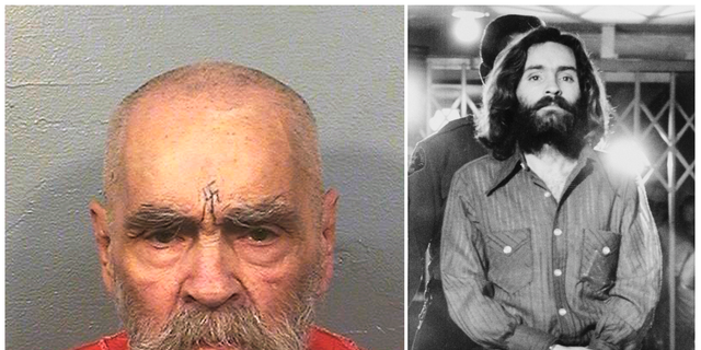 Charles Manson on Aug. 14, 2017, left, and on Dec. 22, 1969, right, leaving a Los Angeles courtroom. Manson died in prison on Nov. 19, 2017. (California Department of Corrections and Rehabilitation, left, and Wally Fong, right, via AP, File)