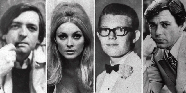 FILE - This file combination of images shows the five victims slain the night of Aug. 9, 1969 at the Benedict Canyon Estate of Roman Polanski and Sharon Tate. From left, Wojciech Frykowski, Sharon Tate, Stephen Parent, Jay Sebring, and Abigail Folger. (AP Photo/File)