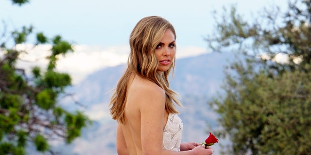 """This image released by ABC shows Hannah Brown from the season finale of """"The Bachelorette."""""""
