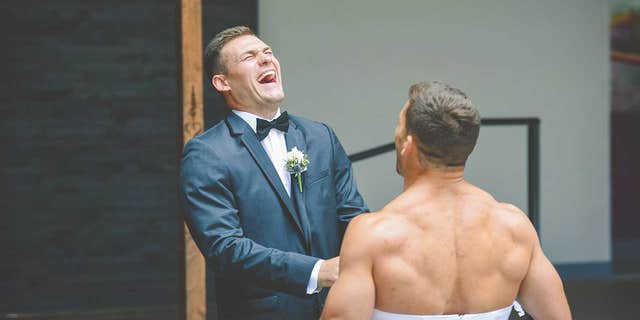 """""""When I turned around and saw Ryan, I couldn't help but to double over with laughter,"""" the groom said."""