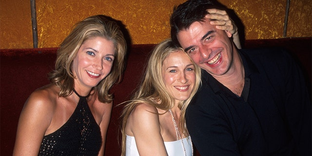 (L-R) Writer Candace Bushnell w. actors Sarah Jessica Parker and Chris Noth.