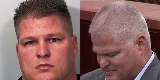 David Mark Temple, 51, was arrested in 2004 (left) for the 1999 shooting death of his pregnant wife Belinda Temple. He was convicted for a second time Tuesday (right) after his initial conviction was overturned in 2016.