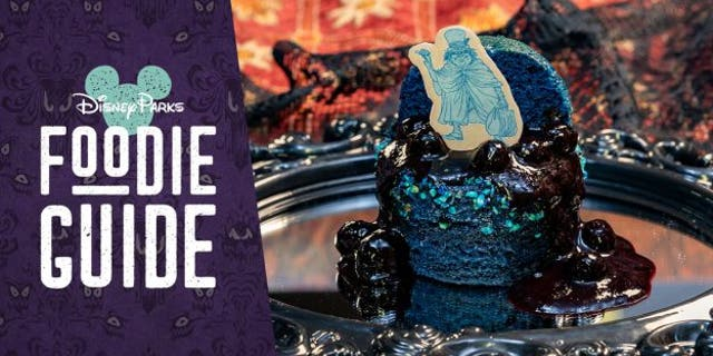 The 'Hitchhiking' Ghost Blue Velvet Cake from the River Belle Terrace features blue velvet cake with blueberry purée, rice croquette brittle and vanilla-blueberry crisp.