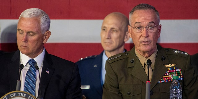 Marine Corps Gen Joe Dunford, chairman of the Joint Chiefs of Staff, delivers remarks at the sixth meeting of the National Space Council, Tuesday, Aug. 20, 2019.
