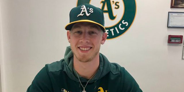 Nathan Patterson. 23, signed a contract with the Oakland Athletics after his 96-mph fastball during a fan event went viral. He made his professional debut Thursday in Arizona.