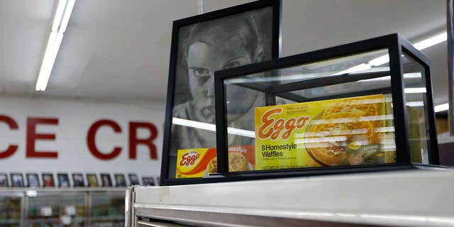 """A box of Eggo Homestyle Waffles used as a prop in Netflix's """"Stranger Things"""" is displayed in Piggly Wiggly grocery store in Palmetto, Ga."""