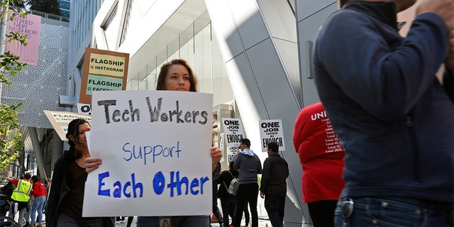Technical workers marched to support Facebook's cafeteria workers in San Francisco last month. (AP Photo / Samantha Maldonado)