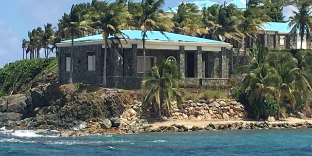 The stone and turquoise structure was Jeffrey Epstein's home on Little St. James Island. (Barnini Chakraborty/Fox News)