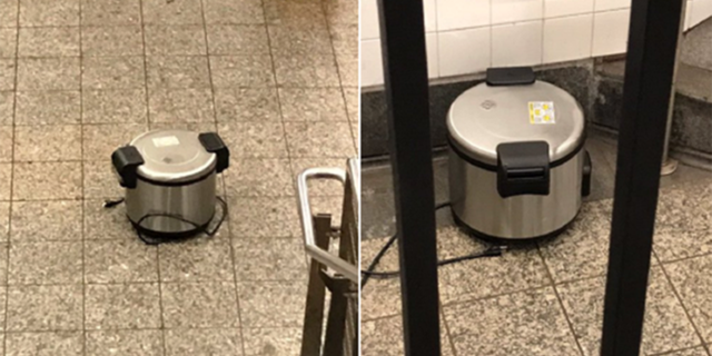 Police say Larry Griffin placed two rice cookers in a Lower Manhattan subway station Friday morning.