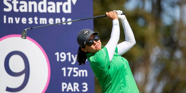 Jane Park of the US tees off at the 9th hole during day one of the Ladies Scottish Open, at The Renaissance Club, in North Berwick, Scotland, Thursday, Aug. 8, 2019. (Kenny Smith PA via AP)