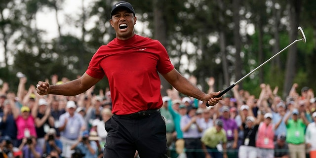 FILE - In this April 14, 2019, file photo, Tiger Woods reacts as he wins the Masters golf tournament in Augusta, Ga. Woods' appeal worldwide, particularly in Asia, remains stronger than ever after his 15th major title.(AP Photo/David J. Phillip, File)