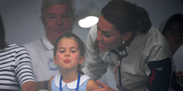 Princess Charlotte of Cambridge and Catherine, Duchess of Cambridge having fun together after the inaugural King's Cup regatta on Aug. 9, 2019 in Cowes, England. (Photo by Clive Mason/Getty Images)