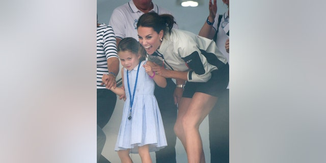 Princess Charlotte and Catherine, Duchess of Cambridge attend the presentation following the King's Cup Regatta on Aug. 8, 2019 in Cowes, England. (Photo by Samir Hussein/WireImage)