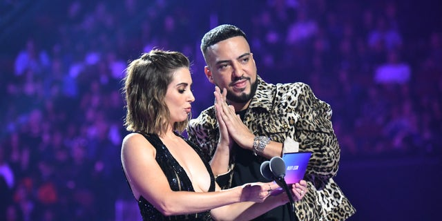Alison Brie and French Montana onstage during the 2019 MTV Video Music Awards at Prudential Center on Aug. 26, 2019 in Newark, N.J. (Photo by Jeff Kravitz/FilmMagic via Getty Images)