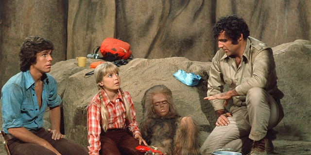 Wesley Eure as Will Marshall, Kathy Coleman as Holly Marshall, Philip Paley as Cha-Ka, Spencer Milligan as Rick Marshall.