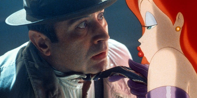 "Bob Hoskins is shot by Jessica Rabbit in one scene from the movie ""Who Framed Roger Rabbit"", 1988, seduces."