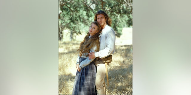 Promotional portrait of British actress Jane Seymour (born Joyce Penelope Wilhelmina Frankenberg), as Dr. Michaela 'Mike' Quinn, and American actor Joe Lando, as Byron Sully, in the television series 'Dr. Quinn, Medicine Woman,' June 1996.