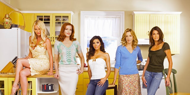 """Desperate Housewives"" stars Nicollette Sheridan as Edie Britt, Marcia Cross as Bree Van De Kamp, Eva Longoria as Gabrielle Solis, Felicity Huffman as Lynette Scavo and Teri Hatcher as Susan Mayer."