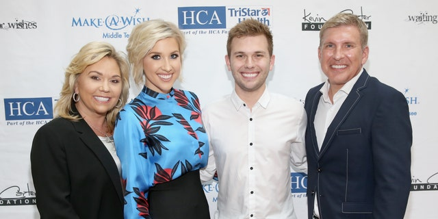 (L-R) Julie Chrisley, Savannah Chrisley, Chase Chrisley and Todd Chrisley from reality show, Chrisley Knows Best, attend the 17th annual Waiting for Wishes celebrity dinner at The Palm on April 24, 2018 in Nashville, Tennessee. (Photo by Terry Wyatt/Getty Images for The Kevin Carter Foundation)