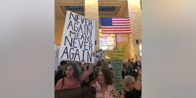 Hundreds of demonstrators flooded Grand Central Terminal on Thursday for the Rise and Resist rally against Trump's immigration policy. (Danielle Wallace/FoxNews)
