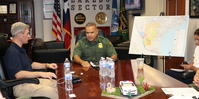 U.S. Citizenship and Immigration Services Acting Director Ken Cuccinelli is briefed by Laredo Sector Chief Border Patrol Agent Felix Chavez. (Adam Shaw/Fox News)