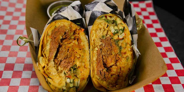 """""""Georgie's Roast With the Most,"""" from the G Mig's Wrap Stand, was declared the Best New Food at the Iowa State Fair."""